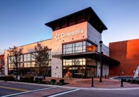 Cinepolis-Front, at angle, morning sunlight on 1:2 of building-HR