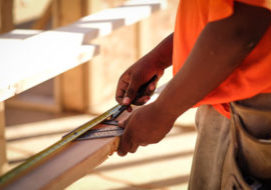 A tradesman working on a Oswald Company project.